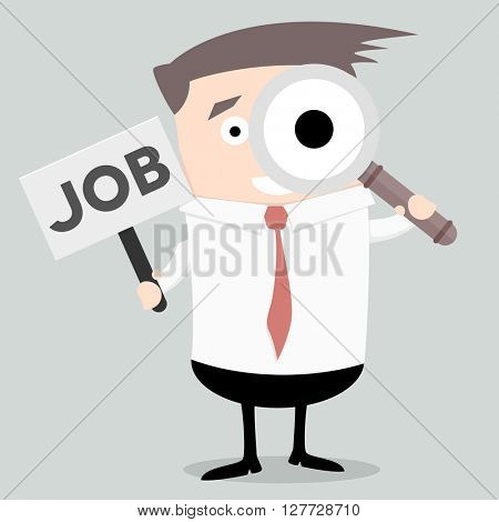 businessman holding magnifiying glass and small sign with Job text, eps10 vector illustration
