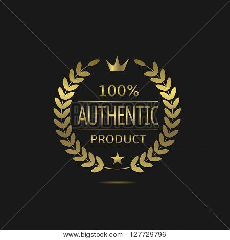 Authentic product. Warranty sign. Guarantee symbol. Golden Authentic product badge