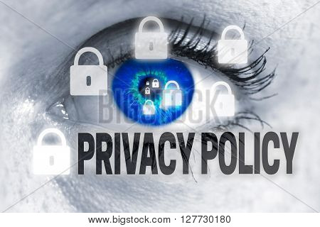 Privacy Policy eye looks at viewer concept background