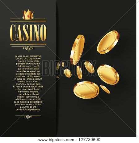 Casino Vector Gambling background. Casino poster or flyer with flying golden coins. Vector casino illustration. Casino background, Casino template. Logo casino. Casino flyer. Casino banner. Casino.