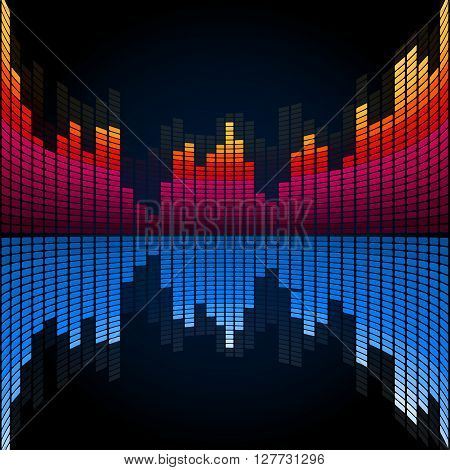 Abstract music colored graphic equalizer. Vector template
