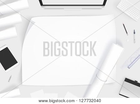 Creative designer desk with blank paper whatman mockup, 3d illustration. Showing design presentation on artist workplace mock up. Developer table surface with creativity equipment. Business space workshop draft desk.