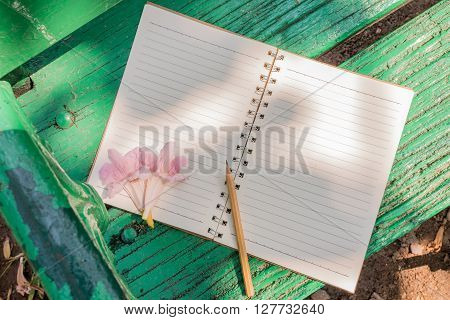 Blank notebook for nature concept to fill in