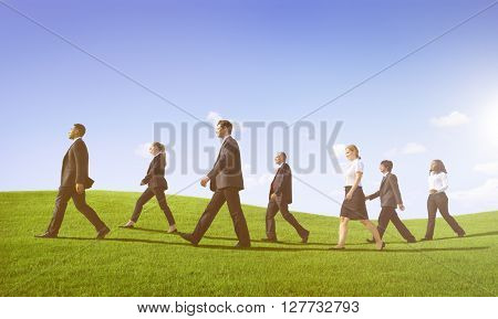 Business People Walking Outdoors the Way Forward Concept