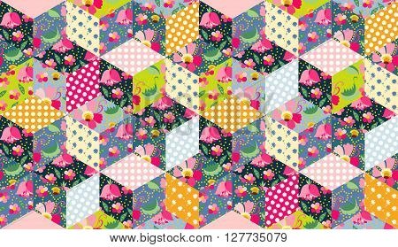 Seamless vector pattern. Beautiful patchwork background. Colorful quilting design.
