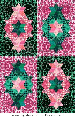 Fantasy patchwork pattern in pink and green tones. Seamless ornamental background. Vector illustration of quilting.