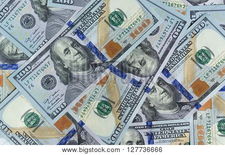 One-hundred US Dollar bills as wealthy concept