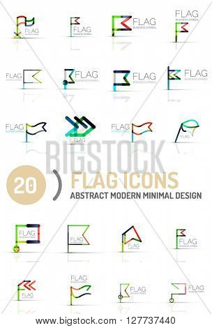 Flag icon logo vector collection, linear design
