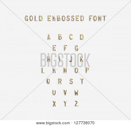 Gold embossed alphabet isolated, 3d illustration. Golden typing font design. Beveled symbols embossing on plastic card. Hammering chamfer type bar letters text. Grunge metallic lettering emboss fount