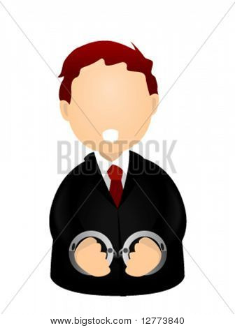 Business Man in Hand Cuffs - Vector Icon