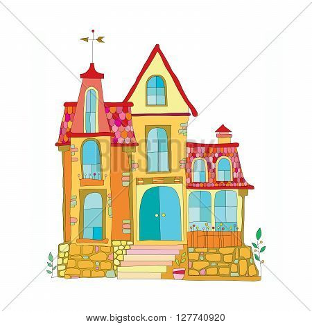 illustration in cartoon style mansion. colored vector illustration for children on a white background