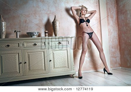 Fashion type photo of an attractive young woman posing in underwear