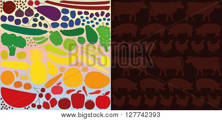 Vegan diet, depicted with colorful vegetables and fruits, versus meat eating, depicted with silhouettes of cows, pigs and hens on a blood red background.