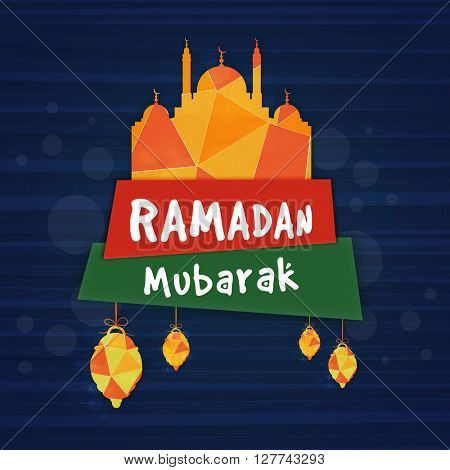 Creative abstract paper Mosque with stylish text Ramadan Mubarak on glossy banners for Holy Month of Muslim Community celebration.