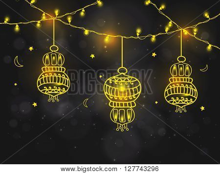 Beautiful floral Lamps with illuminated lights decoration on shiny background for Holy Month of Muslim Community, Ramadan Kareem celebration.