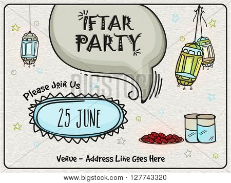 Creative Invitation Card design with Islamic elements for Ramadan Kareem, Iftar Party celebration.