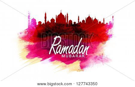 Creative Mosque made by colourful splash and brush stroke for Islamic Holy Month of Prayers, Ramadan Mubarak celebration.