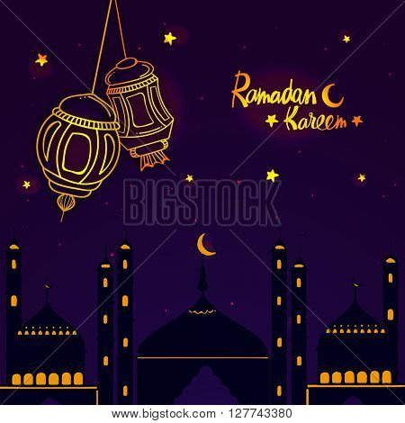 Creative Mosque with hanging Lamps on stars decorated night background for Holy Month of Muslim Community, Ramadan Kareem celebration.