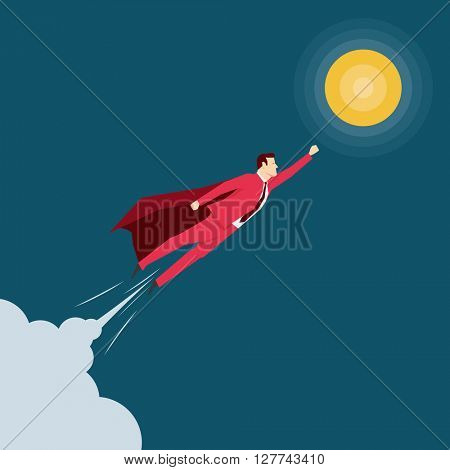 Red suit businessman. Super hero. Vector concept illustration.