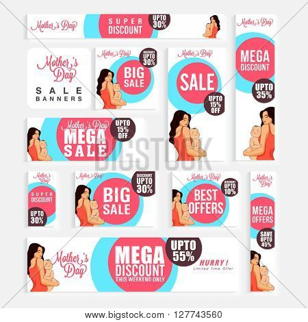 Social Media Sale Ads, Sale Post, Sale Headers, Sale Banners for Happy Mother's Day celebration.