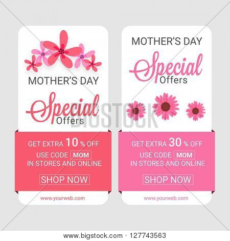 Sale Web Banners, Special Offer, Get Extra 10% Off, Different Discounts for Happy Mother's Day celebration.