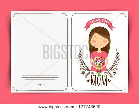Greeting Card design with young beautiful girl holding a flowers bouquet celebrating and wishing Happy Mother's Day.