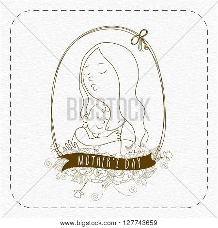 Creative illustration of a Mother with her loving Child in a flowers decorated frame, Elegant Greeting Card for Happy Mother's Day celebration.