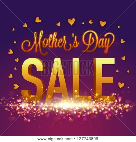 Golden text Mother's Day Sale, Glowing Sale Poster, Sale Banner, Sale Flyer, Typographical Sale Background. Creative glossy vector illustration.