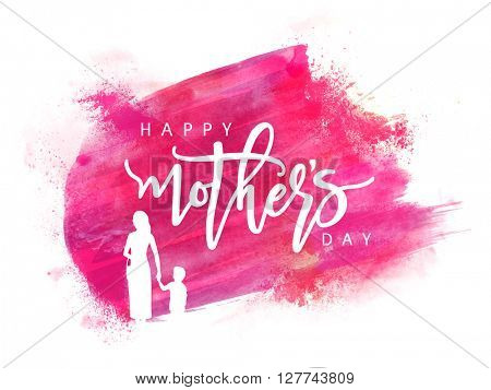 White silhouette of a Mother holding her Child hand on pink paint stroke background for Happy Mother's Day celebration.