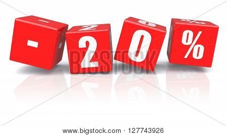20% discount red cubes on a white background. 3d rendered image