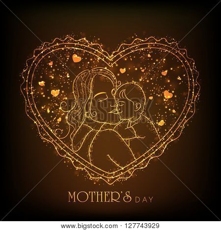 Elegant golden illustration of a Young Mother with her cute Baby on hearts decorated glowing brown background for Happy Mother's Day celebration.