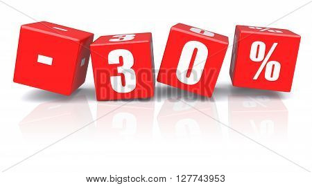 30% discount red cubes on a white background. 3d rendered image