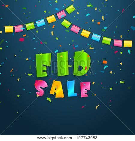 Eid Sale Poster, Banner or Flyer with colourful party flags and confetti for Muslim Community Festival celebration.