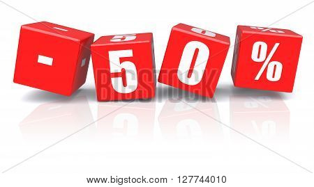 50% discount red cubes on a white background. 3d rendered image