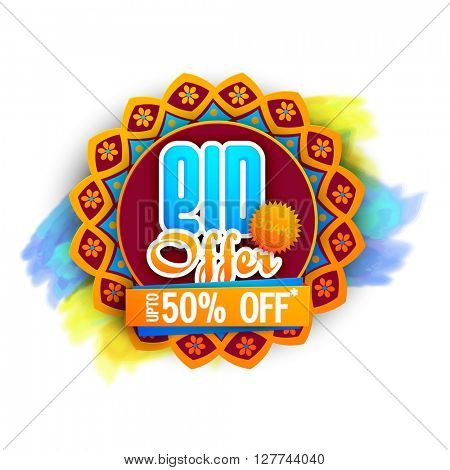 Creative colourful Sticker, Tag or Label with discount upto 50% off for Muslim Community Festival, Eid Mubarak celebration.