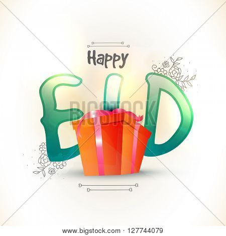 Glossy green text Happy Eid with beautiful gift box on floral decorated background for Muslim Community Festival celebration.