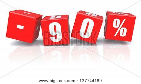 90% discount red cubes on a white background. 3d rendered image