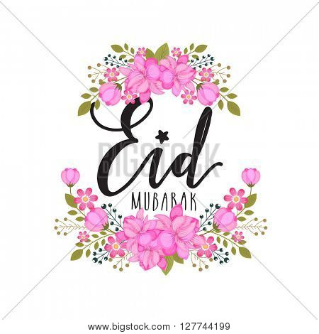Pink beautiful flowers decorated greeting card for Muslim Community Festival, Eid Mubarak celebration.