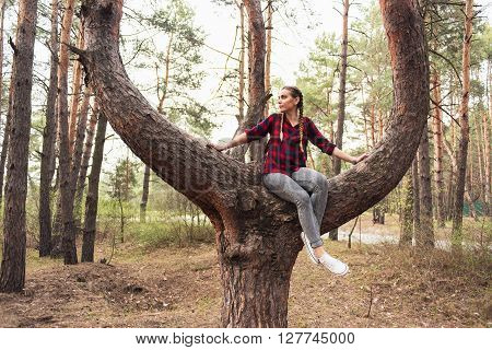 Beautiful young hipster girl in a red plaid shirt and leather backpack sitting on the tree in the forest among the pine trees