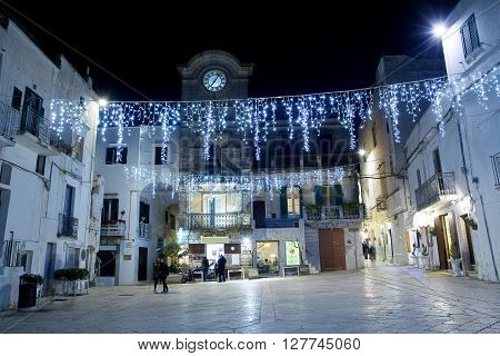 Cisternino in winter during Christmas holyday night