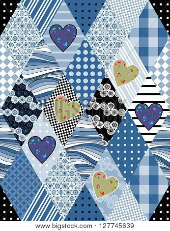 Seamless patchwork pattern. Blue and green hearts with butterflies on rhombus background. Beautiful vector illustration of quilt.