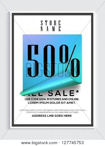 Sale Flyer, Sale Poster, Sale Banner, Sale Tag, 50% Discount, Vector illustration.