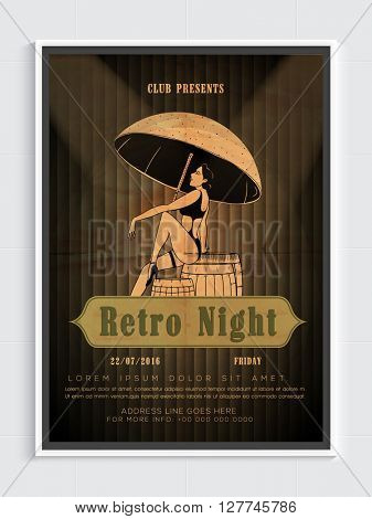 Retro Night Party Template, Dance Party Flyer, Night Party Banner or Club Invitation design with illustration of young girl on stylish background.