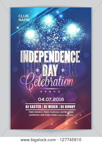Glossy fireworks decorated, Pamphlet, Banner or Flyer design for 4th of July, American Independence Day Party celebration.