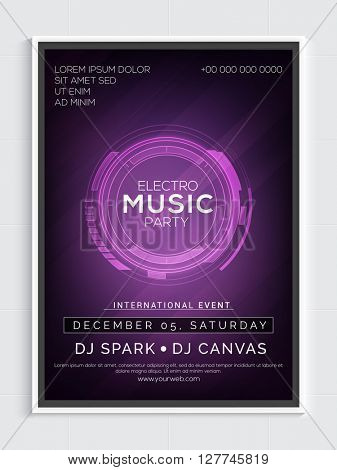 Electro Music Party Template, Dance Party Flyer, Night Party Banner or Club Invitation with Party details.