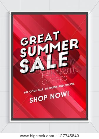 Great Summer Sale Flyer, Sale Poster, Sale Banner, Fantastic Offer, Vector illustration.