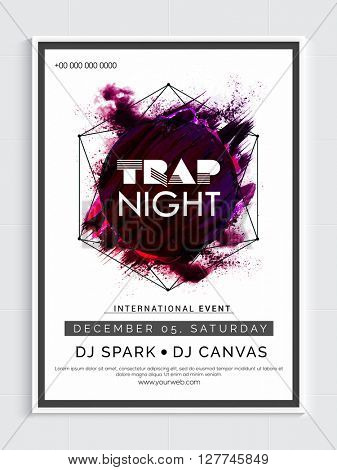 Trap Night Party Template, Dance Party Flyer, Night Party Banner or Club Invitation design with abstract pattern.