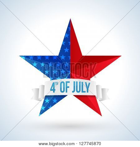 Creative Star with Ribbon in American Flag colors on shiny grey background for 4th of July, Independence Day celebration.