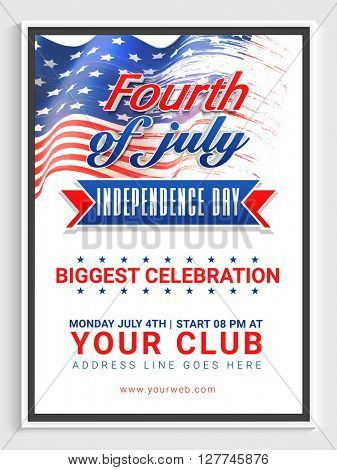 Creative Pamphlet, Banner or Flyer design for Biggest Celebration of Fourth of July, American Independence Day.