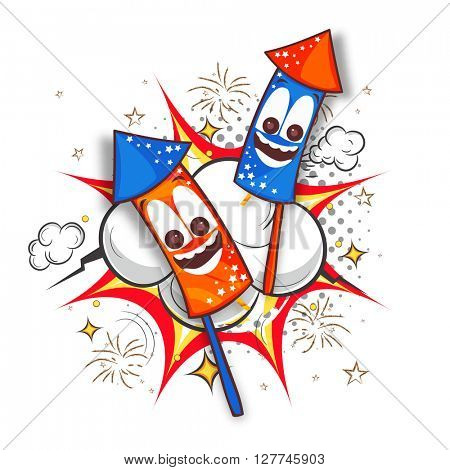 American Flag colors Rockets with funny faces on abstract background for American Independence Day celebration.